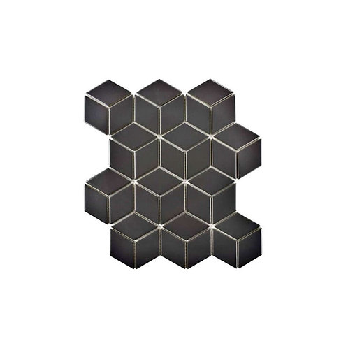 Rhombus Matt Black Mosaic 266mm x 305mm x 5mm