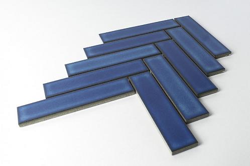 Herringbone Blue Gloss 20.9cm x 24.7cm (3.2cm x 14.5cm) Wall Mosaic