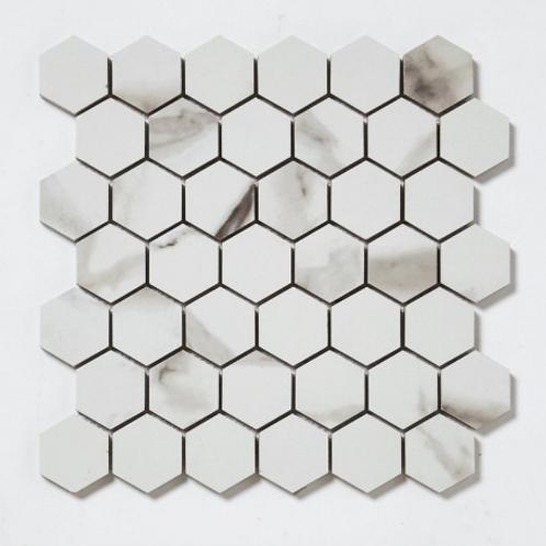 Statuario Hexagon Mosaic 32.4cm x 33.2cm Wall & Floor Tile