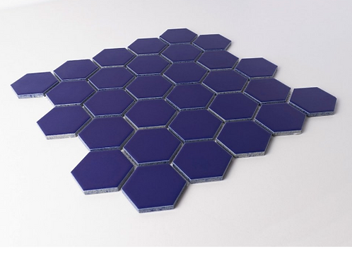 Hexagon Oxford Blue Matt (5.1 cm x 5.9cm) 30cm x 28cm Mosaic Tile