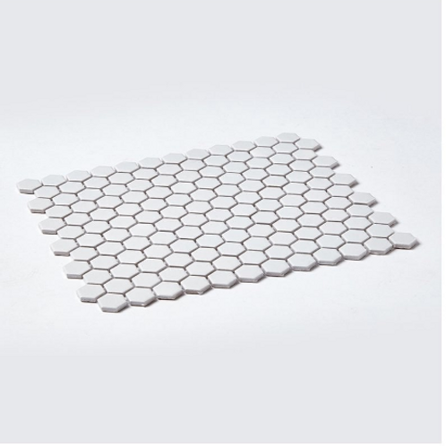 Hexagon White Gloss (2.3cm x 2.3cm) 30cm x 26cm Mosaic Tile