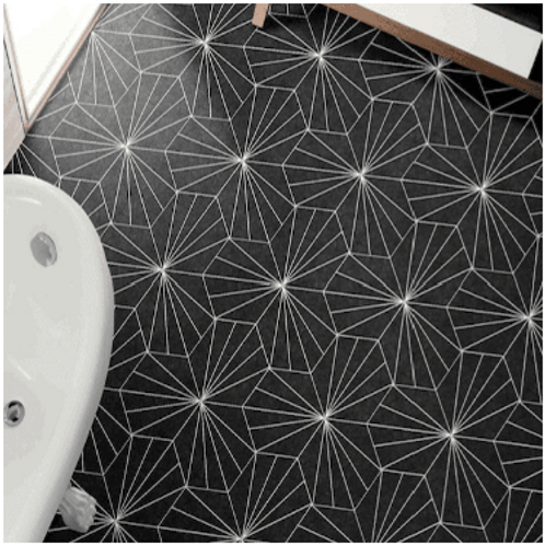 Lily Hex Hexagon Black 22.8cm x 19.8cm Wall & Floor Tile