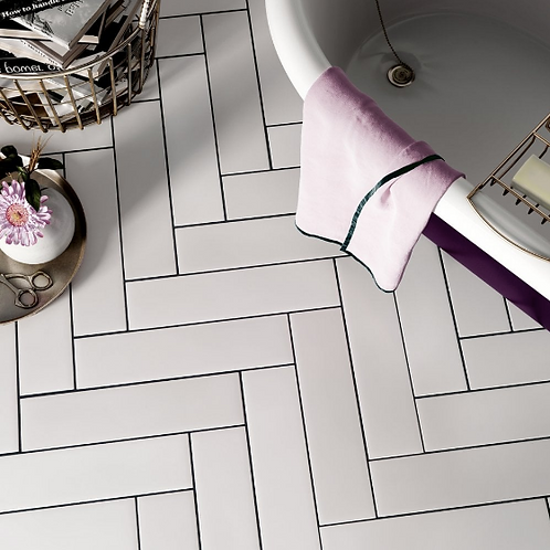Stromboli White Plume 9.2cm x 36.8cm Wall & Floor Tile