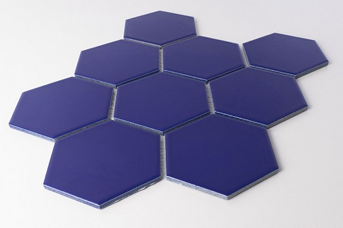 Hexagon Oxford Blue Matt Mosaic (9.5cm x 9.5cm) 29.5cm x 25.6cm Wall & Floor Til