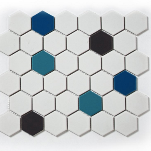 Hexagon Splash Mix (5.1cm x 5.1cm) 32cm x 28cm Mosaic