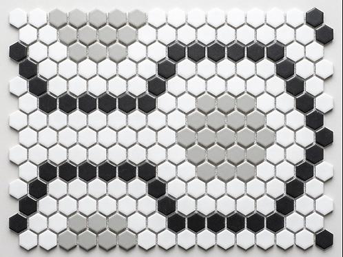 Encaustic Hexagon Mix (2.3cm x 2.3cm) 30.3cm x 40cm Mosaic Tile