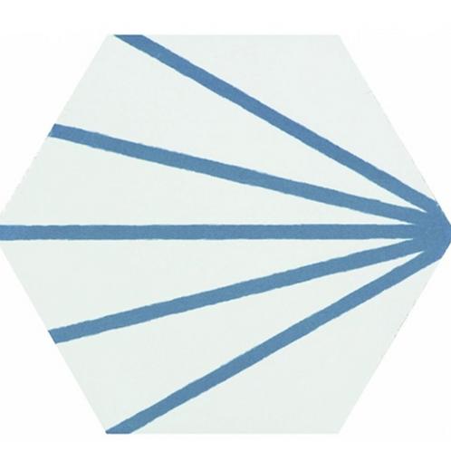 Lily Hex Hexagon Denim Line 22.8cm x 19.8cm Wall & Floor Tile