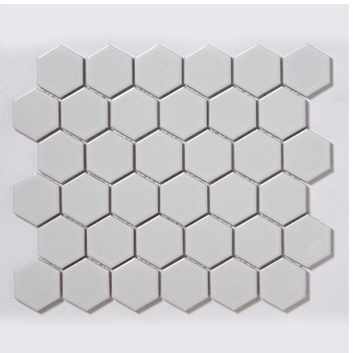 Hexagon White Gloss (5.1 cm x 5.9cm) 32cm x 28cm Mosaic Tile