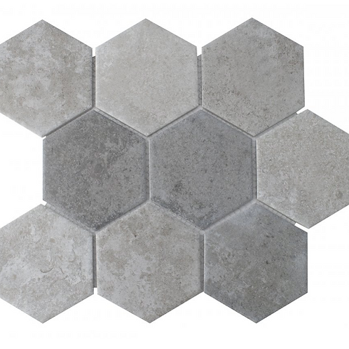 Hexagon Cement Mix Mosaic (9.5cm x 9.5cm) 29.5cm x 25.6cm Wall & Floor Tile