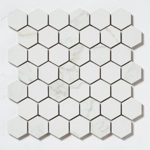 Q-Marmi Calacatta Hexagon Mosaic (4.8cm x 4.8cm) 32.4cm x 33.2cm Wall & Floor Ti