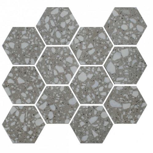 Terrazzo Hexagon Medium Grey Mosaic 26cm x 27.8cm Wall & Floor Tile