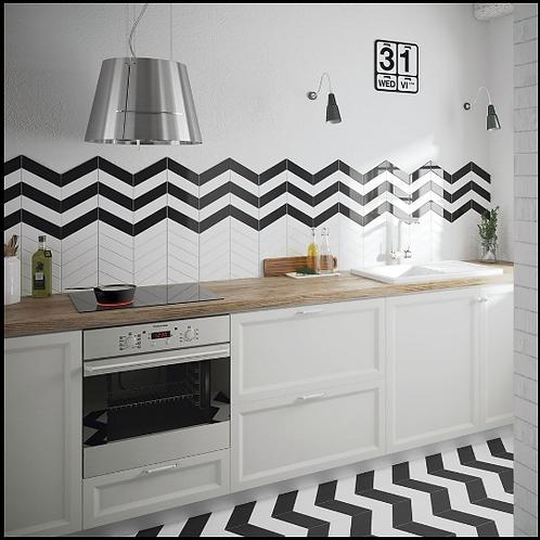 Chevron Black Right 18.6 x 5.2cm Wall Tile