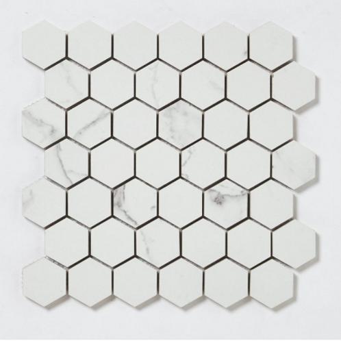 Q-Marmi Statuario Hexagon Mosaic (4.8cm x 4.8cm) 32.4cm x 33.2cm Wall & Floor Ti