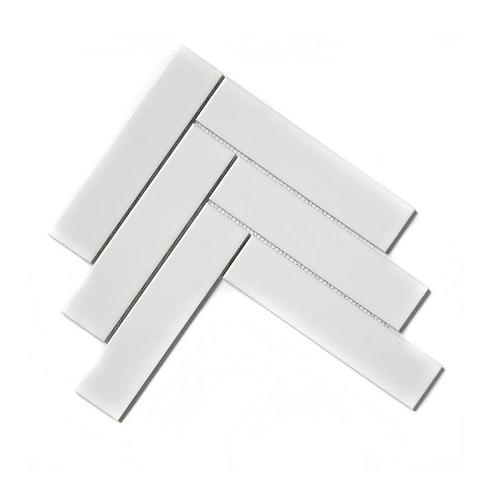 Herringbone White Matt 20.4cm x 28cm (4.5cm x 19.5cm) Wall & Floor Mosaic