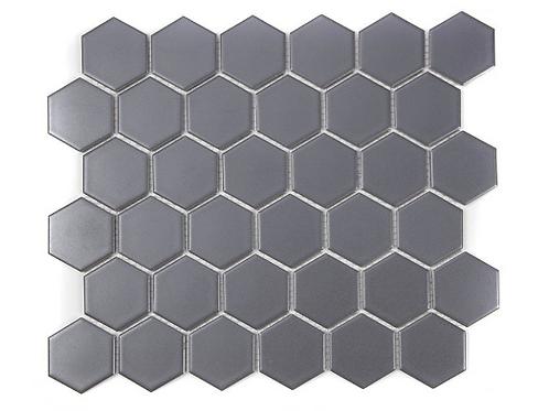 Hexagon Grey Matt (4.8 cm x 4.8cm) 32cm x 28cm Mosaic Tile