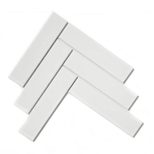 Herringbone White Gloss 20.4cm x 28cm (4.5cm x 19.5cm) Wall & Floor Mosaic