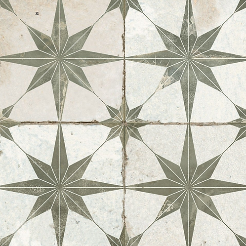 Scintilla Olive Green Star Pattern 45cm x 45cm Wall & Floor Tile