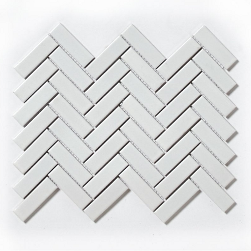 Herringbone White Matt & Gloss 31.8cm x 24.7cm Wall & Floor Mosaic
