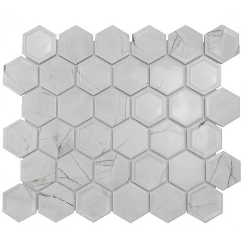 Hexagon Tablet Statuario (5.1 cm x 5.9cm) 32cm x 28cm Mosaic Tile
