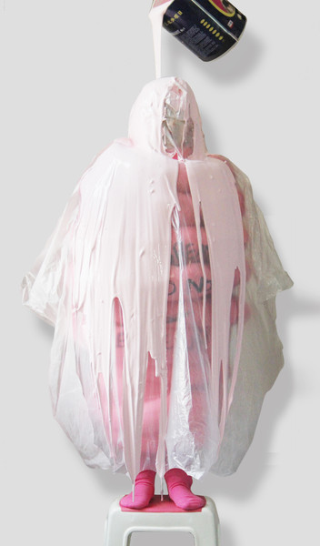The thick heavy pink paint pouring over the child is like the overprotection drowning over her.