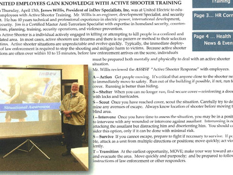 Active Shooter Response Training provided for United Electric Cooperative in DuBois PA