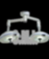 Esta lámpara para uso hospitalario puede ser utilizada en  unidades de segundo y tercer nivel de operación con iluminación libre de sombras a la interposición de cuerpos, luz fría para evitar  el desecado de tejidos en la zona de operación, proporciona una alta y optima iluminación de partes pequeñas poco contrastadas a diferentes profundidades.  Este equipo está equipado con dos brazos giratorios 360° con ajuste vertical y capacidad de abatimiento mediante mecanismos  balanceado, así como una columna central con brida en acero al carbón para fijación al techo y un brazo porta lámpara giratorio 360°, lo que le permite un excelente desplazamiento en tres dimensiones. El diseño de la lámpara cuenta con cuerpo de    aluminio y cabezal cerrado con superficies exteriores lisas sin tornillos ni bordes para una fácil limpieza y desinfección.  El panel digital con teclas de membrana en el satélite cuenta con control para las funciones de encendido, apagado, indicador luminoso de uso y regula