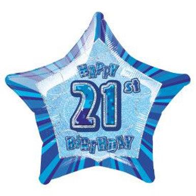 "Balloon Foil 18"" Happy Birthday 21 Blue"