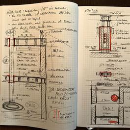 Baustellenbuch mit Notizen und Detailzeichnungen