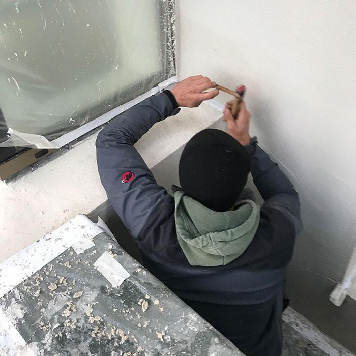 Arbeiten an der Fassade