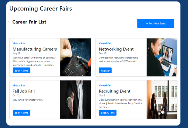 Career Fairs page