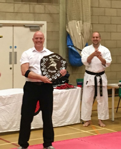 Sensei John with the Warren Easy Award for Services to the GKI - at the National Championship in 2018