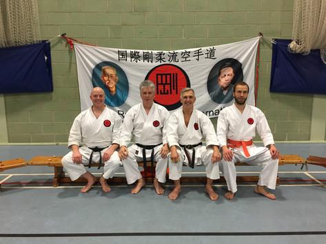 Sensei John and Iain from AKA at the Birmingham Gasshuku in 2017 with Sensei Len (8th Dan) and Sensei Kevin (7th Dan)