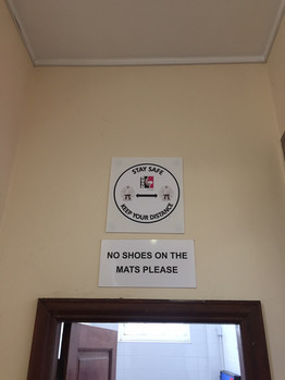 Clear signage when entering the dojo