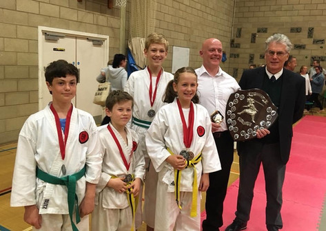 AKA competitors and medal winners at the GKI National tournament in Weymouth 2018- with Sensei Len (8th Dan)