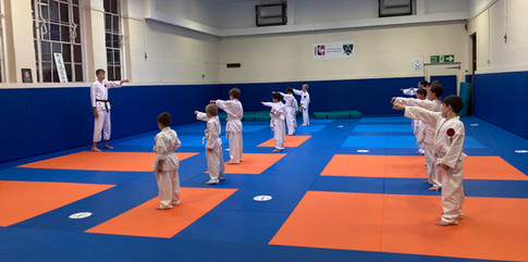 Senpai Joseph  instructing front of the Junior class Sept 2021