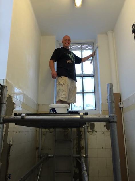 Sensei John helping out at Ashlyns School Dojo renevation in Sept 2015
