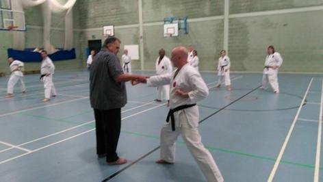 Sensei John being taught by Shihan James (9th Dan) in 2017