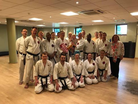 Sensei John at Senior training celebrating Sensei Lens 50 years in karate