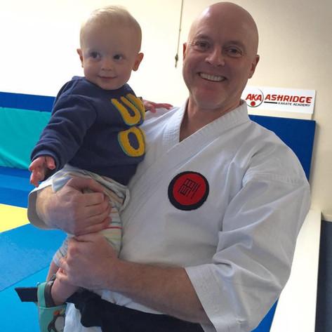 Sensei John with son Harry at Ashridge Karate Academy in 2017