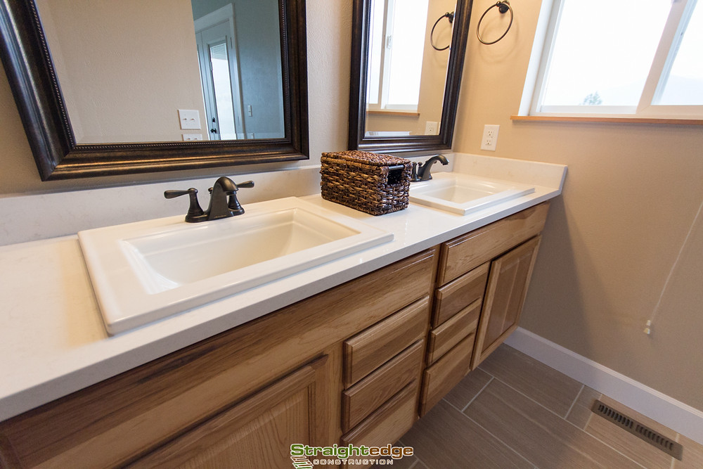 Straightedge Construction granite countertops in a Missoula bathroom remodel