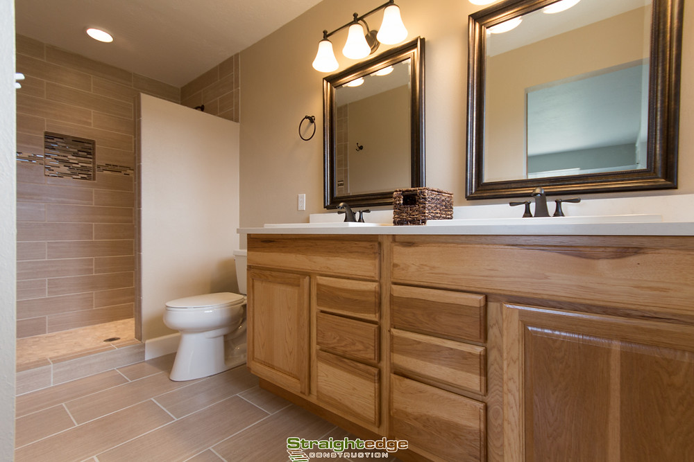 Remodeled bathroom done by Straightedge Construction in Missoula