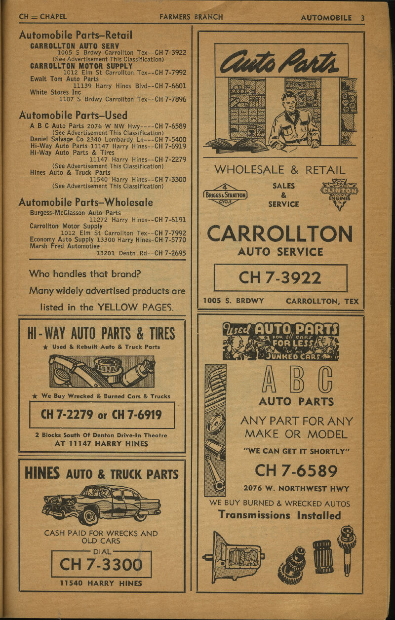 1960s Ads Carrollton Texas