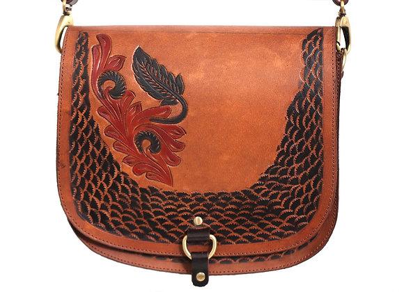 Tan Floral Tote Bag