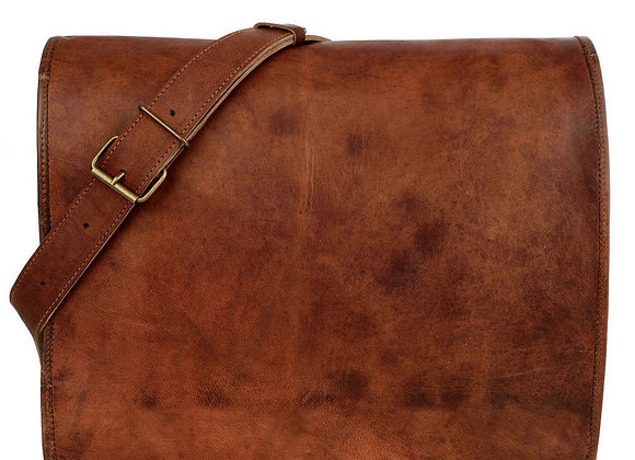 Brown Strappy Leather Laptop Bag