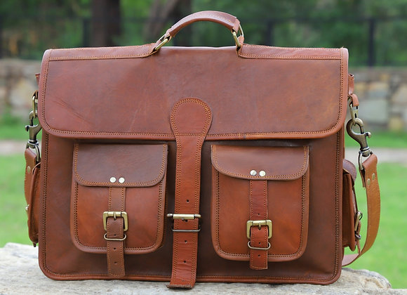 Tanned Leather Laptop Bag - Two front pockets