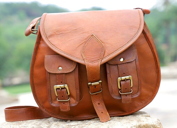 Tan Retro Tote Bag with Buckle
