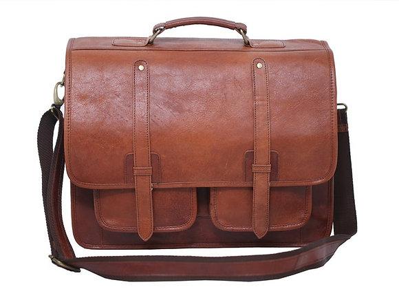 Double Pocket Dark brown Office Bag