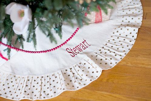 Classic Gold Dot Tree Skirt