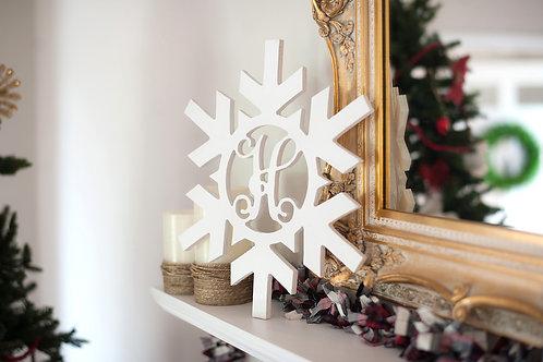 Single Initial Birch Snowflake