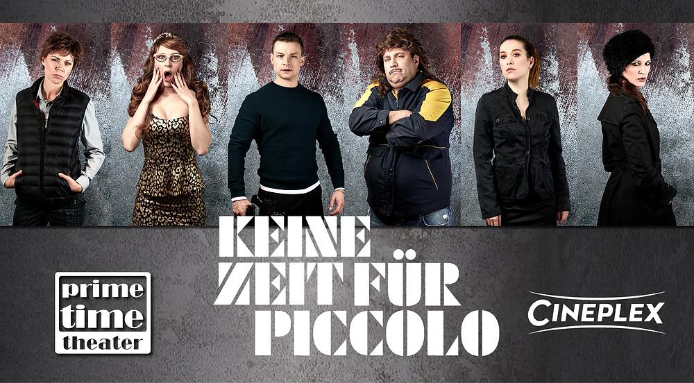 """Filmplakat mit diversen Charakteren aus dem Stück """"Keine Zeit für Piccolo"""""""